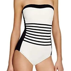 DKNY A-Lister Striped Bandeau Striped One Swimsuit